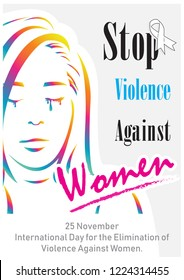 """Colorful silhouette in woman shape with the day, name and slogan wording about """"International day for the elimination of Violence Against Women"""" on light gray background."""