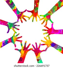 Colorful silhouettes of hands in a circle. Vector