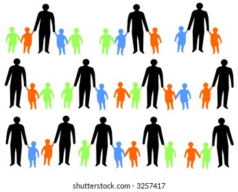 colorful silhouettes of parents walking with children