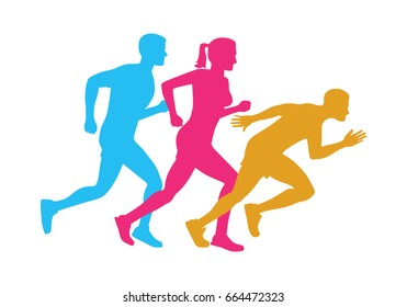 Colorful silhouettes of running men and woman on white. Vector illustration of sportsmen in motion in cartoon style flat design. Fast movement and healthy lifestyle logotype icons of people.