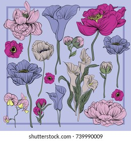 Colorful silk scarf with flowering poppies, orchid and peonies. Green, pink, violet on violet.