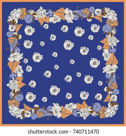 Colorful silk scarf with flowering poppies, orchid and peonies. Yellow, beige on blue color