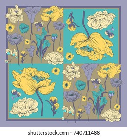 Colorful silk scarf with flowering poppies, orchid and peonies. Black, violet, yellow on green.