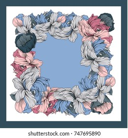 Colorful silk scarf with flowering poppy and peonies. White, blue, violet on pink.