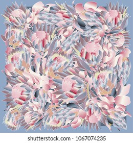 Colorful silk scarf with flowering proteas.