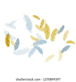 Colorful silver gold feathers vector background. Wildlife nature isolated plumage. Detailed majestic feather on white design. Lightweigt plumelet windy floating pattern.