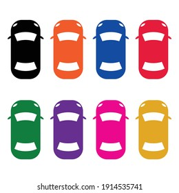 colorful simple car icon from above. car top view