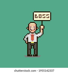 colorful simple flat pixel art illustration of cartoon smiling guy in a white shirt with a red tie he holds a sign with the inscription boss