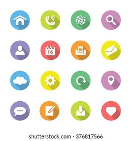 colorful simple flat web and technology icon set 1 on circle with long shadow for web design, user interface (UI), infographic and mobile application (apps)