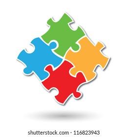 Colorful simplistic kids puzzle pieces vector eps10