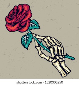Colorful skeleton hand holding beautiful rose in vintage style isolated vector illustration