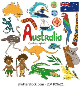 Colorful sketch collection of Australia icons, countries alphabet