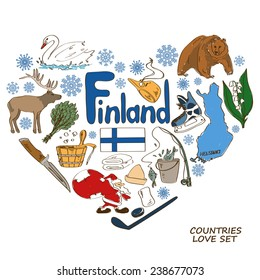 Colorful sketch collection of Finland symbols. Heart shape concept. Travel background