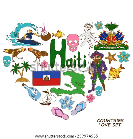 Colorful Sketch Collection Haitian Symbols Heart Stock Vector
