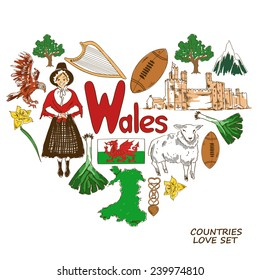 Colorful sketch collection of Wales symbols. Heart shape concept. Travel background