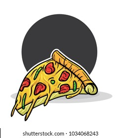colorful sketch hand drawing of retro detail slice pizza in back circle background
