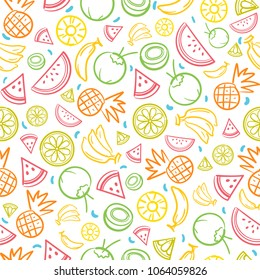 Colorful sketch mixed tropical fruits seamless summer pattern background vector format