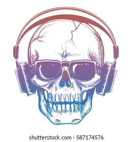 Colorful sketch of skull and headphones. Vector human skull music lover isolated on white illustration