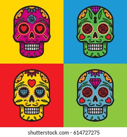 Colorful skulls vector illustration