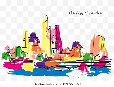 Colorful skyline of The City of London, in ink and colored paint on a transparent background.