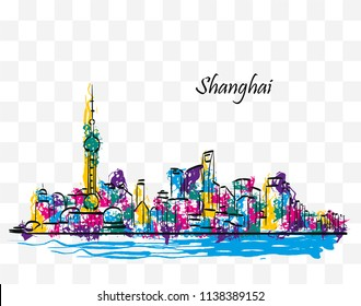 Colorful skyline of Shanghai, China, in ink and colored paint on a transparent background.