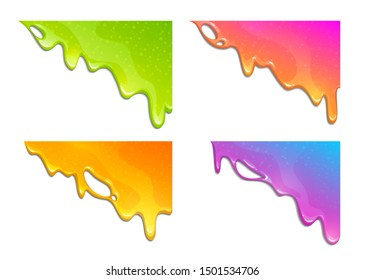 Colorful slimy dribbles. Slime drops on the corner, web banner template. Vector illustration.