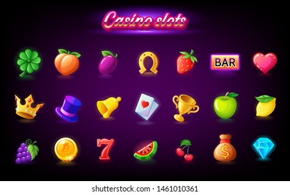 Colorful slots icon set for casino slot machine, gambling games isolated, mobile puzzle game design, vector illustration