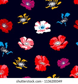 Colorful small poppies on black background. Seamless floral pattern with Spanish and Russian motifs. Trendy design for textile, cards and covers.