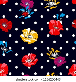 Colorful small poppies on dark dotted background. Seamless floral pattern with Spanish and Russian motifs. Trendy design for textile, cards and covers.