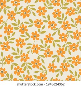 Colorful Small Scale Hand-Drawn Floral Vector Seamless Pattern. Retro 70s Style Nostalgic Fashion Textile Bold Background. Summer Resort Print. Ditsy Daisies. Flower Power
