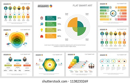 Colorful smart art charts set for presentation slide templates. Business design elements. Teamwork concept can be used for annual report, advertising, flyer layout and banner design.