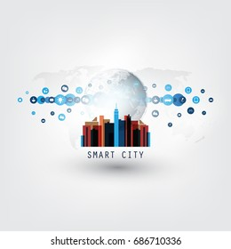 Colorful Smart City, Internet of Things or Cloud Computing Design Concept with Icons - Digital Network Connections, Technology Background