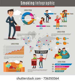 Colorful smoking infographic concept with smokers of different ages and people with cigarettes in various places vector illustration