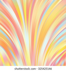 Colorful smooth light lines background. Yellow, orange colors. Vector illustration
