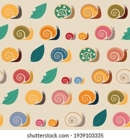 Colorful snails seamless pattern. Funny snails with interesting  shells on a light beige background.