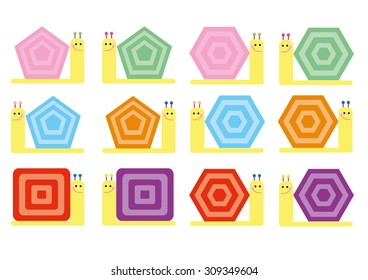Colorful Snails Set Vector