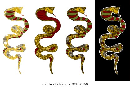 Colorful snake cobra illustration for sticker and tattoo design.Asia tattoo style.