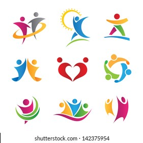 Colorful social logo of people in action icons