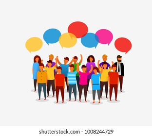 Colorful social network people with speech bubbles.Business social networking and communication concept. Vector illustration