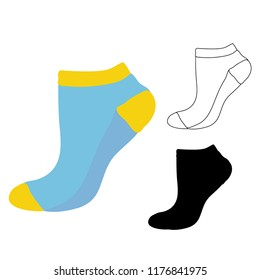 colorful sock sketch, silhouette