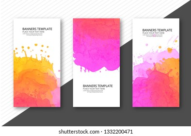 Colorful soft watercolor template banner set vector
