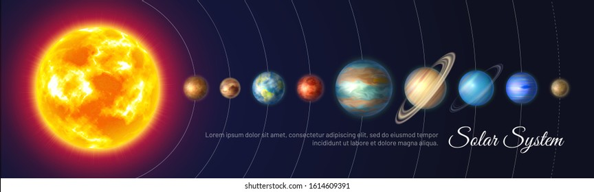 Colorful solar system with nine planets and satellites. Astronomy banner with planet stand in row. Galaxy discovery and exploration. Realistic planetary system and deep space vector illustration.