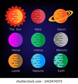 Colorful Solar System planets vector icon set. vector illustration. eps 10.