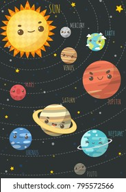 The Colorful Solar System. Sun and Planets on orbit with universe background , Vector illustrations  in cartoon style.