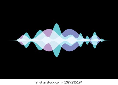 Colorful sound wave abstract vector background. Voice recognition concept gradient logo.