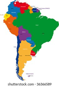 Colorful South America map with countries and capital cities