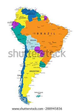 Colorful South America Political Map Clearly Stock Vector Royalty