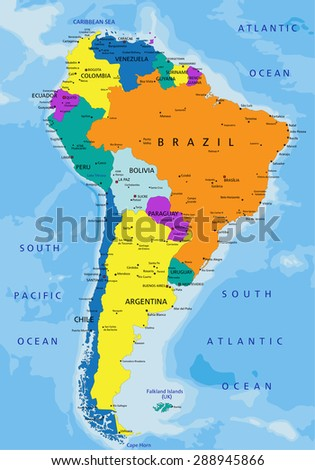 America Map.Colorful South America Political Map Clearly Stock Vector Royalty