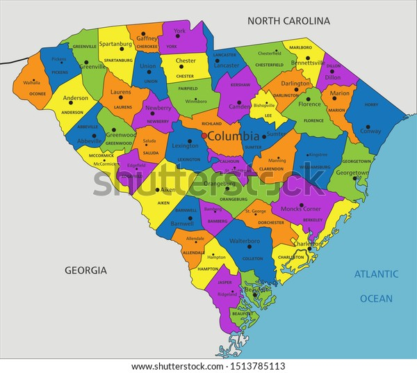 Colorful South Carolina Political Map Clearly Stock Vector