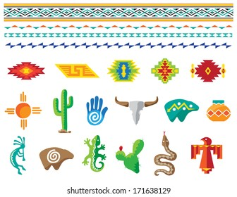 Colorful Southwestern images, icons and border designs.